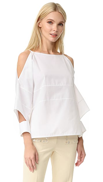 EDUN Poplin Block Top