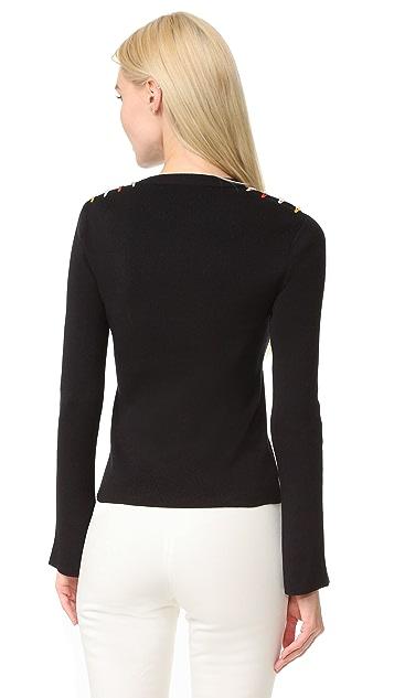 EDUN Long Sleeve Fringe Sweater