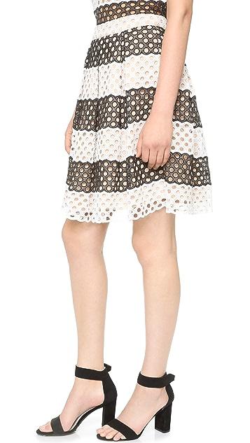 ENGLISH FACTORY Stripe Eyelet Skirt