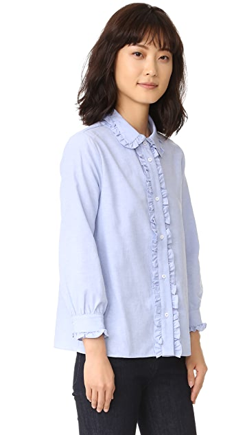 ENGLISH FACTORY Ruffle Button Down Shirt
