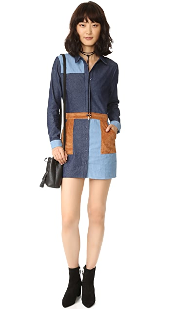 ENGLISH FACTORY Denim Combo Dress