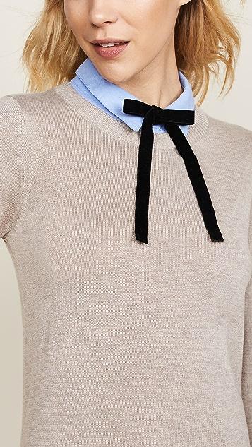 ENGLISH FACTORY Комбинированное платье-рубашка