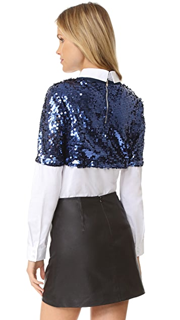 ENGLISH FACTORY Sequin Button Down Shirt