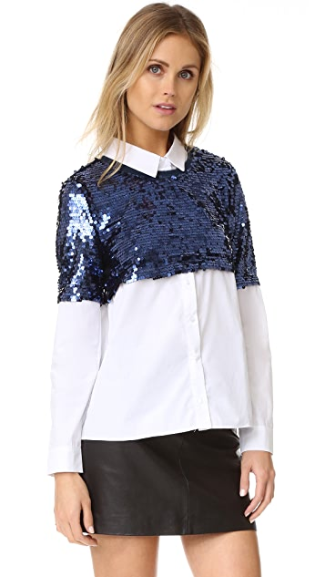 ENGLISH FACTORY Sequin Button Down Shirt