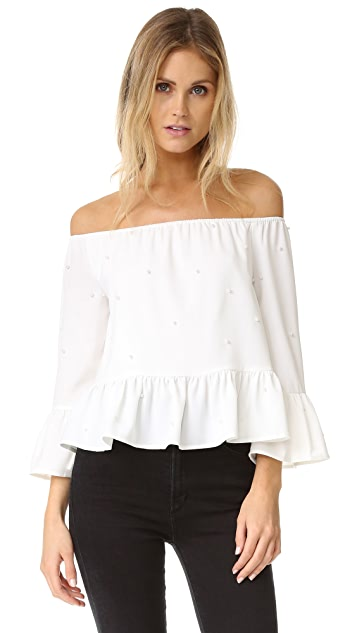 ENGLISH FACTORY Imitation Pearls Off the Shoulder Blouse