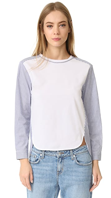 ENGLISH FACTORY Woven Long Sleeve Top