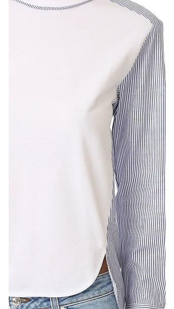 ENGLISH FACTORY Woven Long Sleeve Top