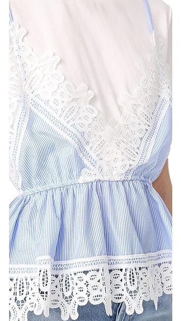 ENGLISH FACTORY Lace Detail Cami Shirt Combo Top