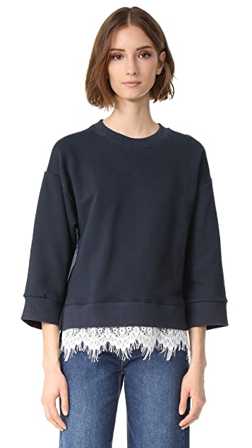 ENGLISH FACTORY Fleece with Stripe & Lace Detail Top