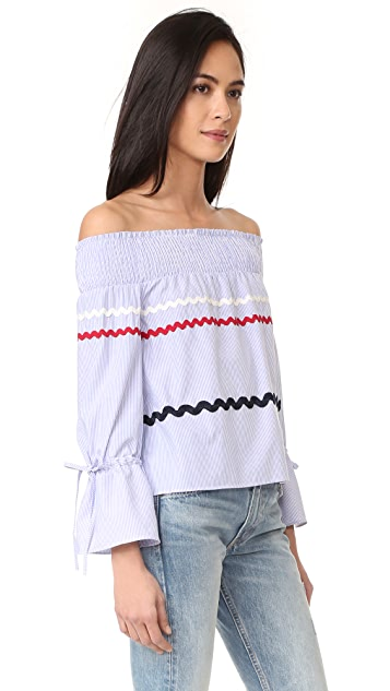 ENGLISH FACTORY Striped Off Shoulder Top