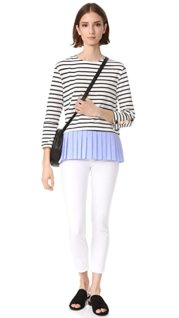ENGLISH FACTORY Stripe Knit Top with Ruffle Detail