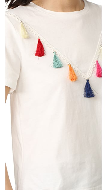 ENGLISH FACTORY Short Sleeve Tassel T Shirt