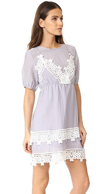 ENGLISH FACTORY Short Sleeve Embroidered Dress