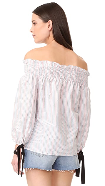 ENGLISH FACTORY Stripe Off Shoulder Top