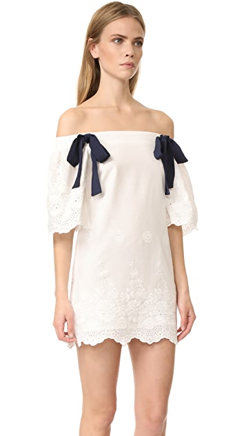 ENGLISH FACTORY Off Shoulder Dress with Tie Detail