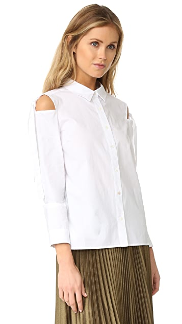 ENGLISH FACTORY Woven Sleeves Top