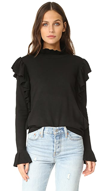 ENGLISH FACTORY Side Ribbed Ruffle Sweater