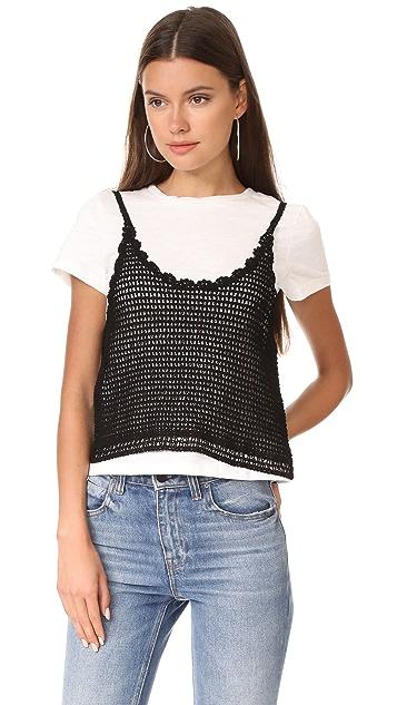 ENGLISH FACTORY Crochet Cami Tee