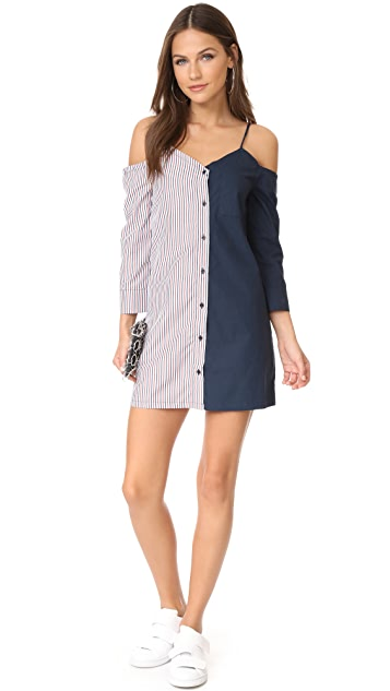ENGLISH FACTORY Shirtdress with Stripe Combo