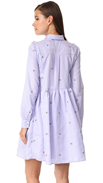 ENGLISH FACTORY Ruffle Embroidery Dress with Tie