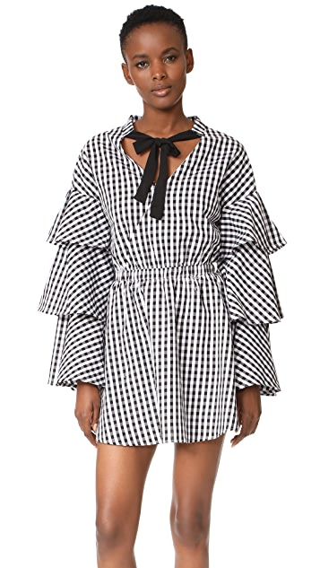 66a3ec006604 ENGLISH FACTORY Black and White Ruffle Plaid Dress | SHOPBOP