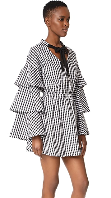 ENGLISH FACTORY Black and White Ruffle Plaid Dress