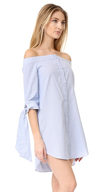 ENGLISH FACTORY Stripe Off Shoulder Dress