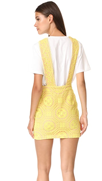 ENGLISH FACTORY Contrast Lace Pinafore Dress