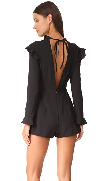 ENGLISH FACTORY Long Sleeve Ruffle Romper