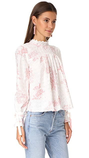 ENGLISH FACTORY Top With Tie Detail Sleeves
