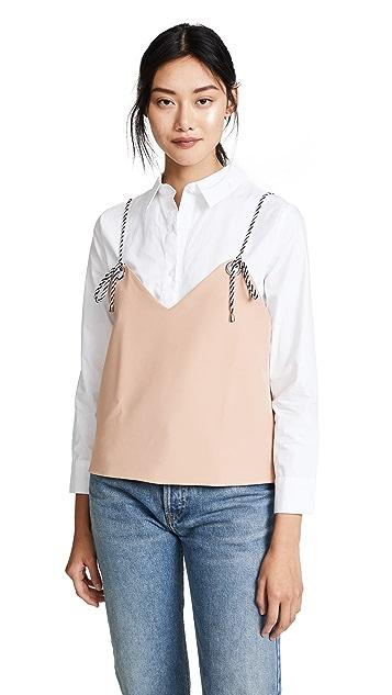 ENGLISH FACTORY Layered Cami Button Down Shirt