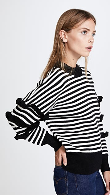 ENGLISH FACTORY Stripe Ruffle Sweater