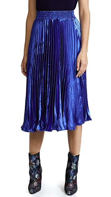 ENGLISH FACTORY Metallic Satin Pleated Skirt