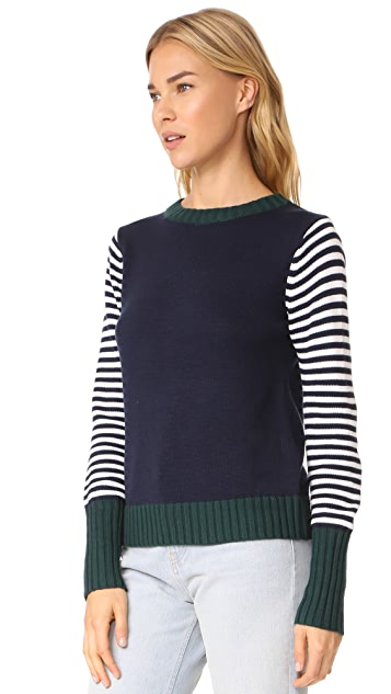 ENGLISH FACTORY Stripe Knit Sweater With Tie