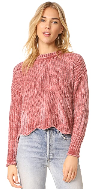 ENGLISH FACTORY Scallop Hem Knit Sweater - Nude Pink