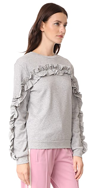ENGLISH FACTORY Ruffle Detail Sweatshirt