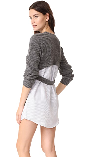 ENGLISH FACTORY Вязаное платье в комбинированную полоску