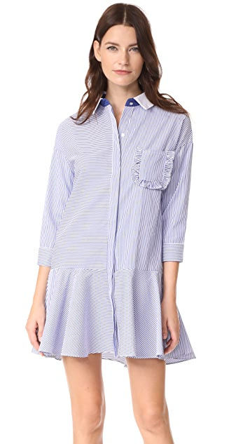 ENGLISH FACTORY Striped Drop Waist Shirtdress