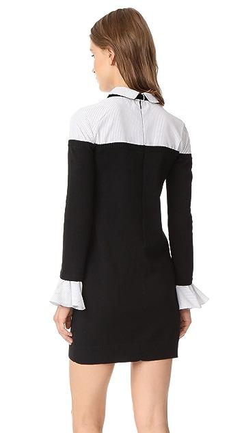 ENGLISH FACTORY Ruffle Combo Shirtdress