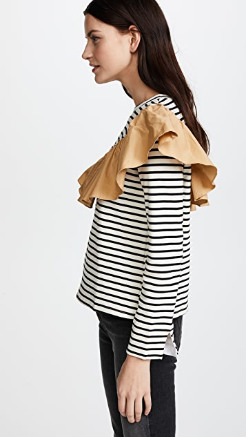 ENGLISH FACTORY Striped Top with Contrast Ruffle