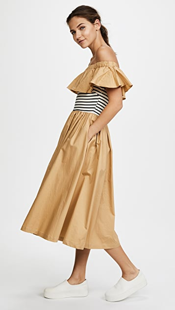 ENGLISH FACTORY Off Shoulder Ruffle Stripe Dress