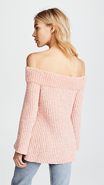 ENGLISH FACTORY Knit Off Shoulder Sweater