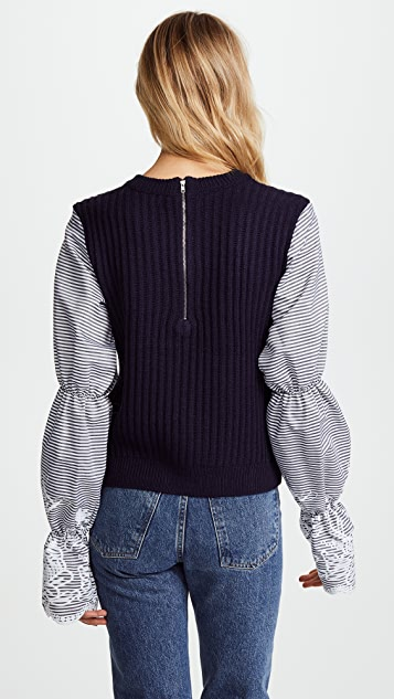 ENGLISH FACTORY Gathered Sleeve Top