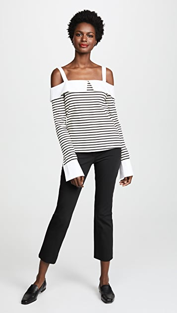ENGLISH FACTORY Long Sleeve Off Shoulder Top