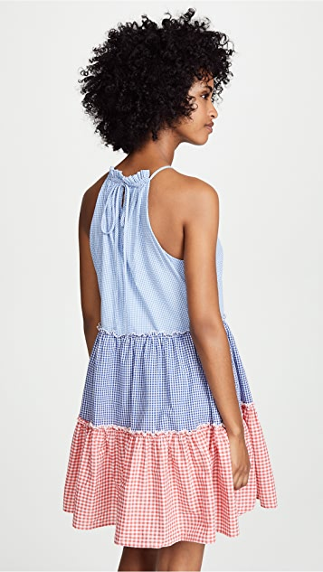 ENGLISH FACTORY Gingham Check Halter Dress