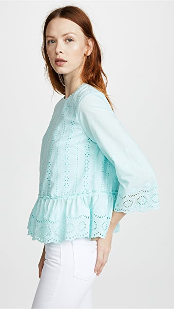 ENGLISH FACTORY Long Sleeve Ruffled Top