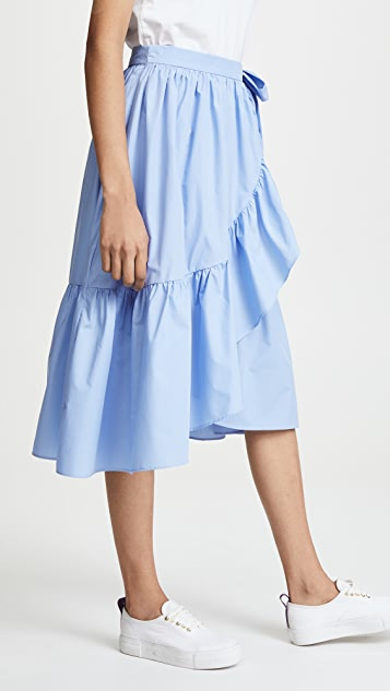 ENGLISH FACTORY Wrap Skirt with Ruffle Hem