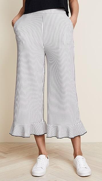 ENGLISH FACTORY Wide Leg Ruffle Pants