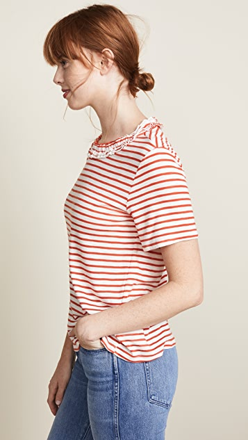 ENGLISH FACTORY Ruffle Neck T-Shirt