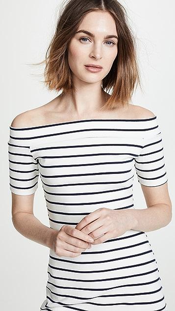 ENGLISH FACTORY Off Shoulder Stripe Dress